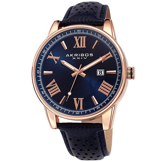 Akribos XXIV Mens Blue Strap Watch-A-1048rgbu