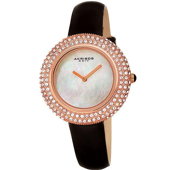 Akribos Xxiv Womens Black Strap Watch A 1049bkr