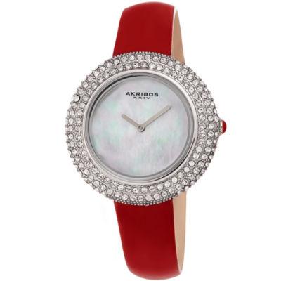 Akribos XXIV Womens Red Strap Watch-A-1049rd