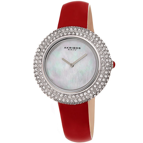 Akribos XXIV Set With Swarovski Crystals Womens Crystal Accent Red Leather Strap Watch-A-1049rd