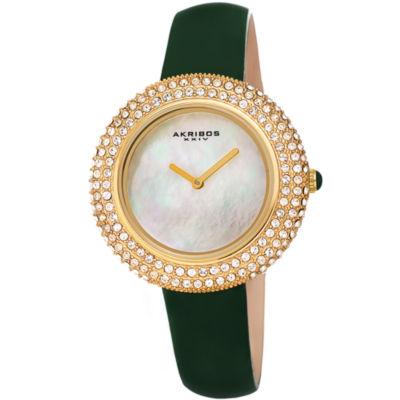 Akribos XXIV Womens Green Strap Watch-A-1049gn