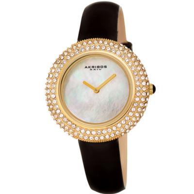 Akribos XXIV Womens Black Strap Watch-A-1049ygb