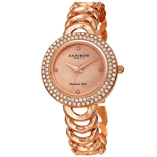Akribos XXIV Womens Diamond Accent Rose Goldtone Strap Watch-A-1050rg