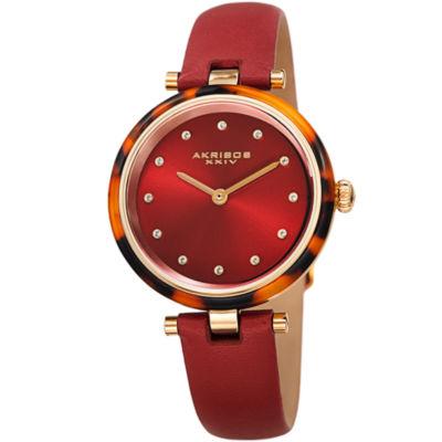 Akribos XXIV Womens Red Strap Watch-A-1052rd