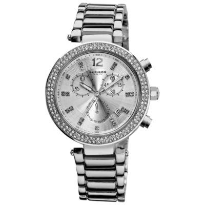 Akribos XXIV Womens Silver Tone Strap Watch-A-529ss