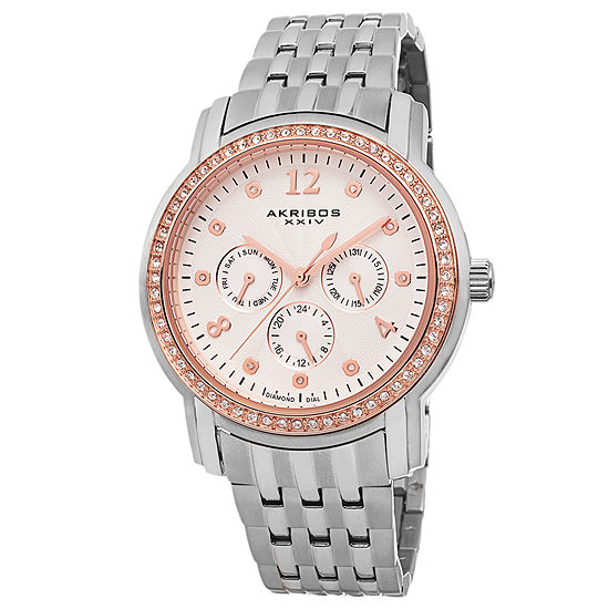 Akribos XXIV Womens Diamond Accent Silver Tone Stainless Steel Bracelet Watch-A-626ss
