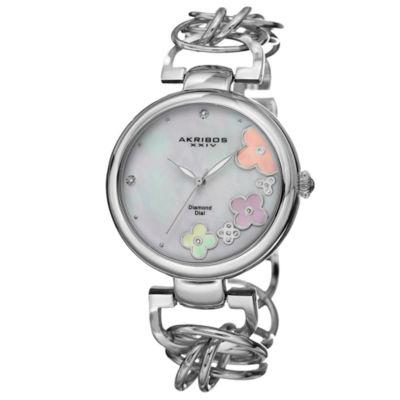 Akribos XXIV Womens Silver Tone Strap Watch-A-645ss