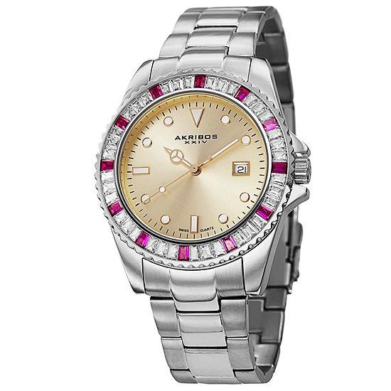 Akribos XXIV Mens Silver Tone Bracelet Watch-A-702rd