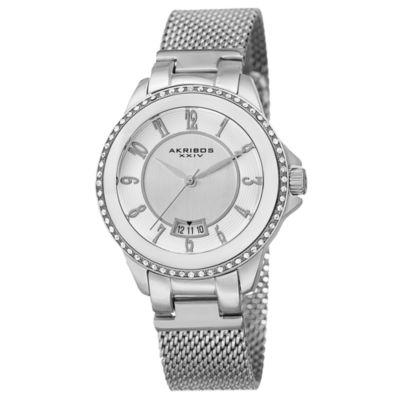 Akribos XXIV Womens Silver Tone Strap Watch-A-840ss