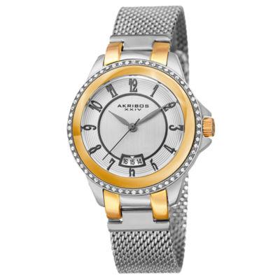Akribos XXIV Womens Silver Tone Strap Watch-A-840ttg