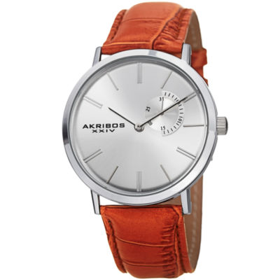 Akribos XXIV Mens Brown Strap Watch-A-848ssbr