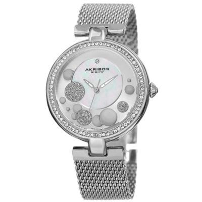 Akribos XXIV Womens Silver Tone Strap Watch-A-881ss