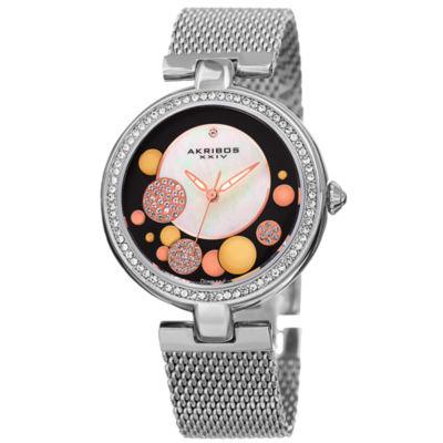 Akribos XXIV Womens Silver Tone Strap Watch-A-881ssb