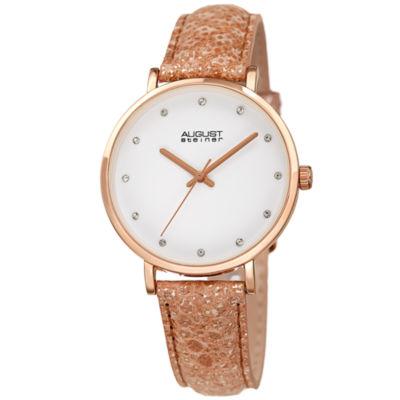 August Steiner Womens Rose Goldtone Strap Watch-As-8258rg