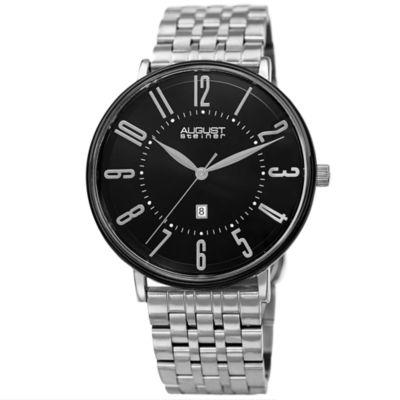 August Steiner Mens Silver Tone Strap Watch-As-8257ssbk