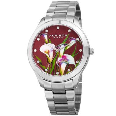 Akribos XXIV Womens Silver Tone Bracelet Watch-A-953fss