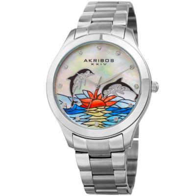Akribos XXIV Womens Silver Tone Strap Watch-A-953dss