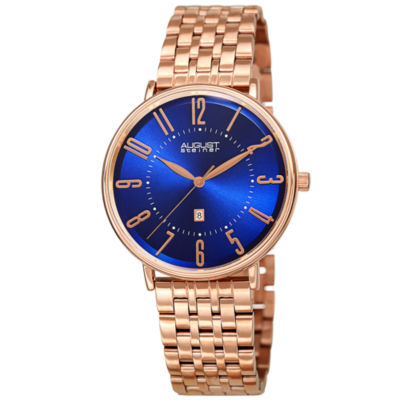 August Steiner Mens Rose Goldtone Strap Watch-As-8257rgbu