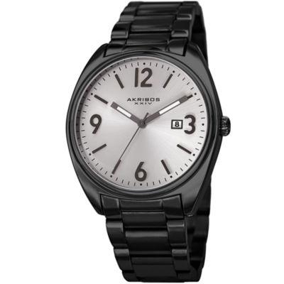 Akribos XXIV Mens Black Strap Watch-A-957bks