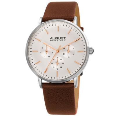 August Steiner Mens Brown Strap Watch-As-8256ssbr
