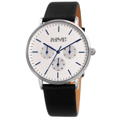 August Steiner Mens Black Strap Watch-As-8256ssbk