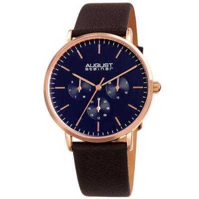 August Steiner Mens Brown Strap Watch-As-8256rgbr