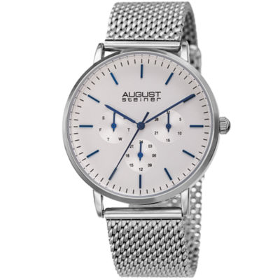 August Steiner Mens Silver Tone Bracelet Watch-As-8255ss