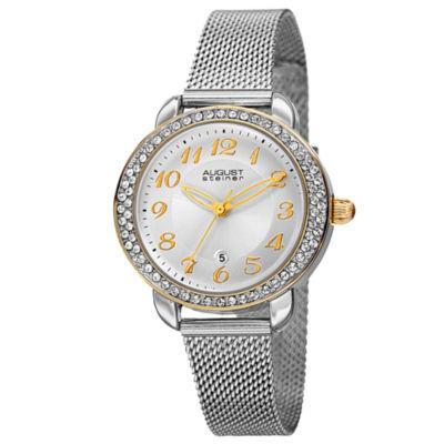 August Steiner Womens Silver Tone Strap Watch-As-8192ssg