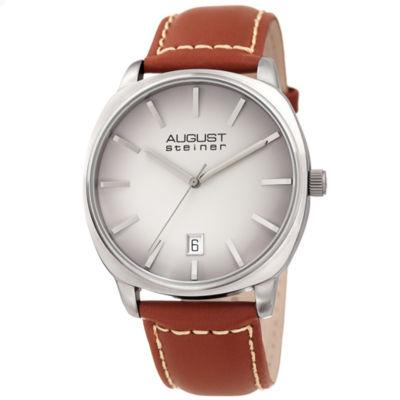 August Steiner Mens Brown Strap Watch-As-8245gybr