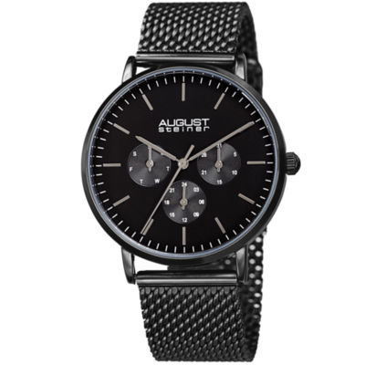 August Steiner Mens Black Strap Watch-As-8255bk