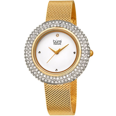 Burgi Womens Gold Tone Bracelet Watch-B-220yg