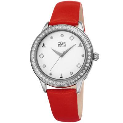 Burgi Womens Red Strap Watch-B-221rd