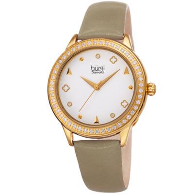 Burgi Womens Brown Strap Watch-B-221tp