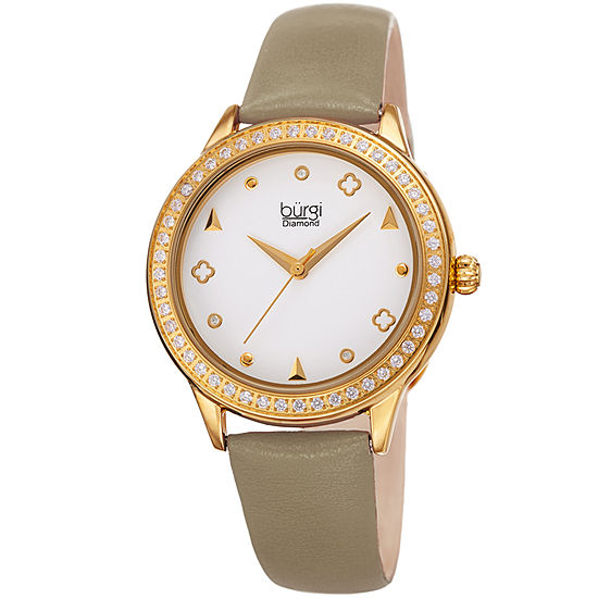 Burgi Womens Diamond Accent Brown Leather Strap Watch-B-221tp