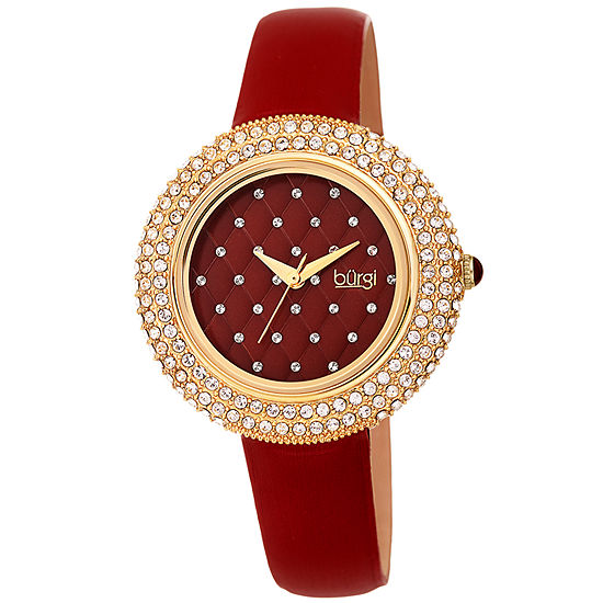 Burgi Set With Swarovski Crystals Womens Crystal Accent Red Leather Strap Watch-B-207bur