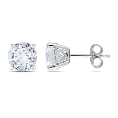 White Sapphire Sterling Silver 8mm Round Stud Earrings
