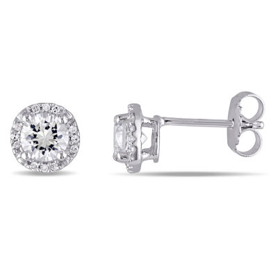 Diamond Accent White Sapphire Sterling Silver Round Ear Pins