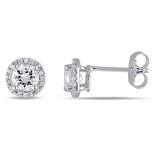 Diamond Accent Lab Created White Sapphire Sterling Silver Round Ear Pins