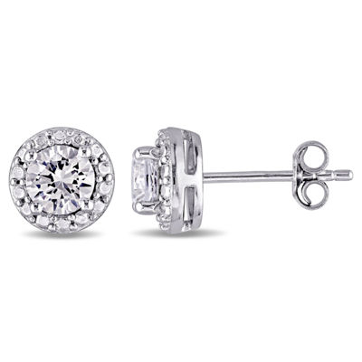 White Sapphire Sterling Silver Round Ear Pins
