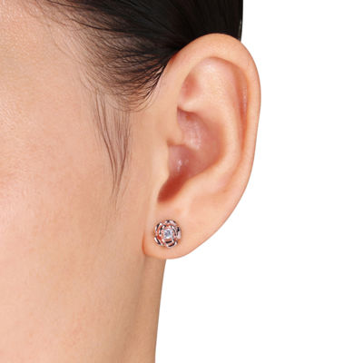 White Sapphire 18K Rose Gold Over Silver Flower Ear Pins
