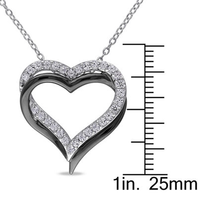 Womens White Sapphire Sterling Silver Heart Pendant Necklace
