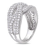 Womens 4mm White Sapphire Sterling Silver Band