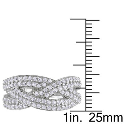 Womens 4mm White Sapphire Sterling Silver Cocktail Ring