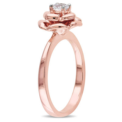 Womens White Sapphire 18K Rose Gold Over Silver Flower Cocktail Ring