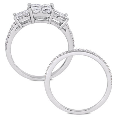 Womens 1 1/3 CT. T.W. Genuine White Diamond 14K White Gold Bridal Set