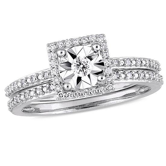 Womens 1/4 CT. T.W. Genuine White Diamond 10K White Gold Bridal Set