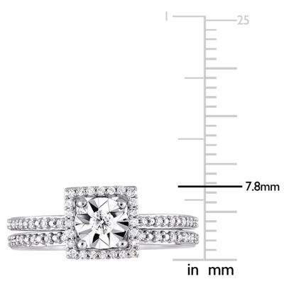 Womens 1/4 CT. T.W. Genuine White Diamond 10K White Gold Bridal Set