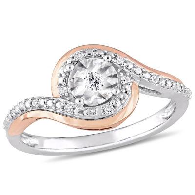 Womens 1/10 CT. T.W. Genuine White Diamond 10K Two Tone Gold Engagement Ring