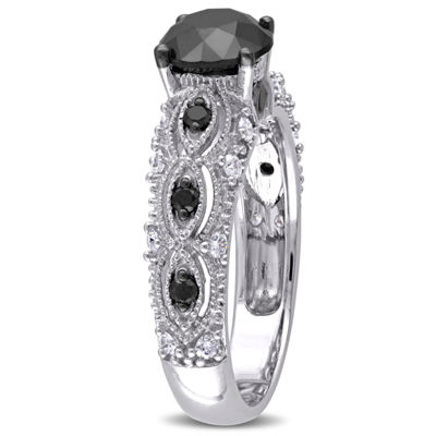 Womens 2 CT. T.W. Genuine Black Diamond 10K White Gold Engagement Ring