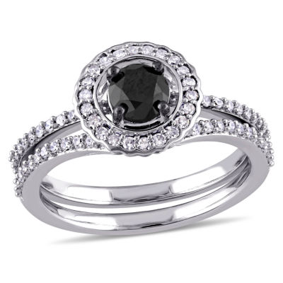 Womens 1 CT. T.W. Genuine Black Diamond 14K White Gold Bridal Set